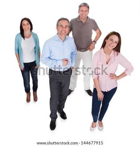 Group Of Happy Businesspeople Isolated Over White Background - stock photo