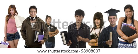 Group of happy casual people and friends - stock photo
