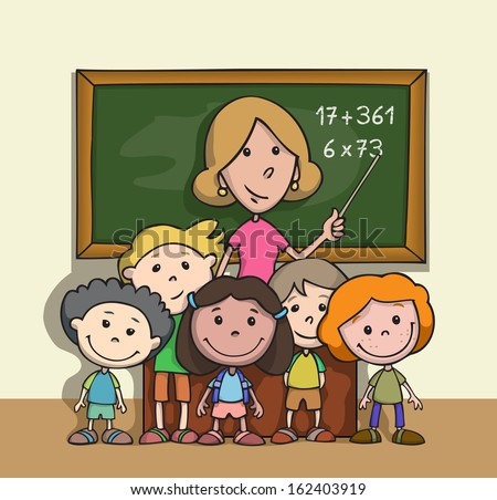Group of happy children at school classroom with teacher. Cartoon. - stock photo