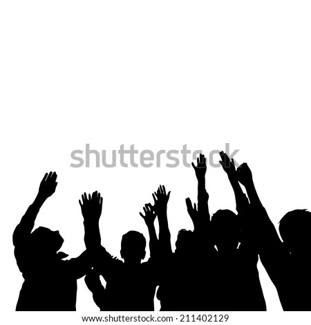Group of happy children hands up - stock photo