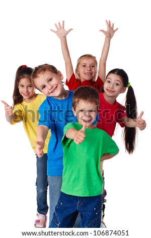Group of happy children with hands up and thumbs up sign, isolated on white - stock photo