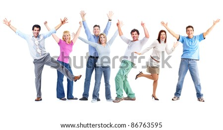 Group of happy dancing people. Isolated over white background. - stock photo