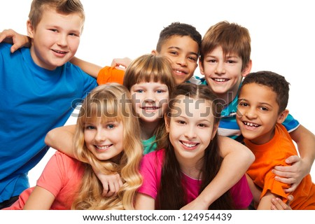 Group of happy diversity kids smiling  and laughing Caucasian and black kids - stock photo