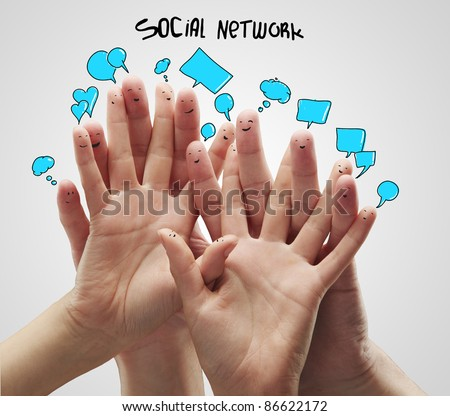 Group of happy finger smileys with social chat sign and speech bubbles.Isolated on a gray background - stock photo
