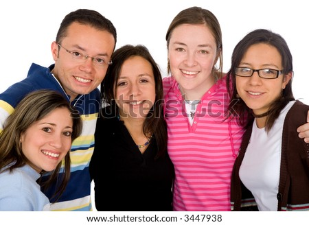 group of happy friends isolated over a white background