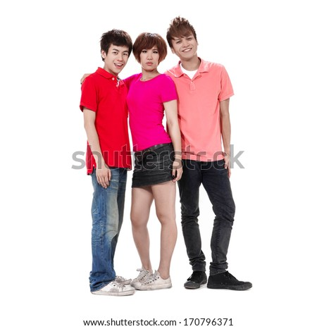 Group of happy friends posing standing together posing - stock photo