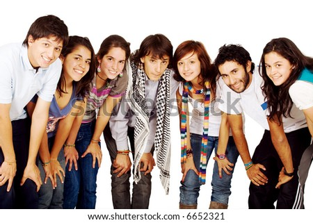 group of happy friends smiling for a portrait isolated over a white background - stock photo