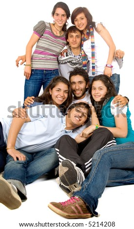 group of happy friends smiling portrait on the floor - stock photo