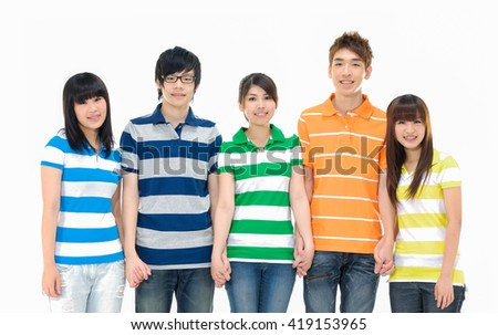group of happy friends standing casually together. - stock photo