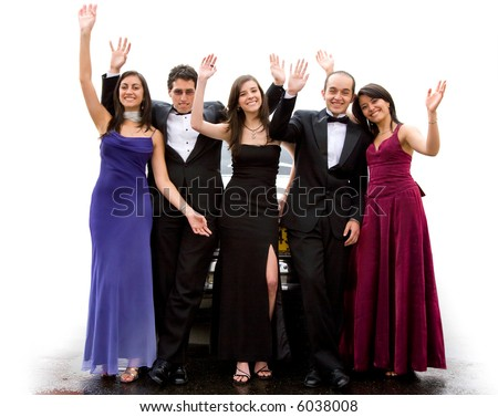 group of happy friends waving at the camera in front of a limosine over a white background