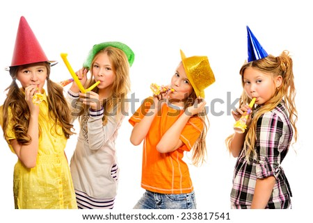 Group of happy girls having fun at a party. Isolated over white. - stock photo