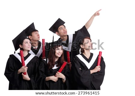 group of happy graduates student look copy space isolated on white background, asian