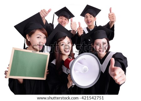 group of happy graduates student show Blank green chalkboard and shout by megaphone isolated on white background, asian