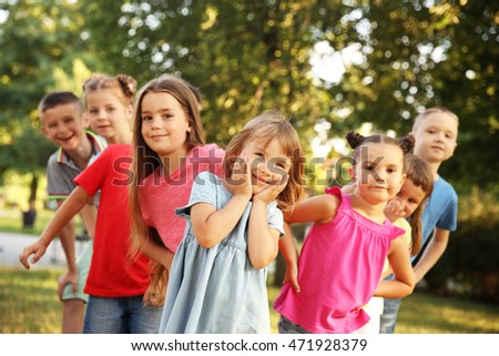 Group of happy kids in park