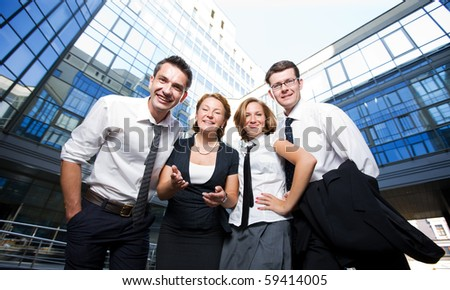 Group of happy office workers stay outdoor - stock photo