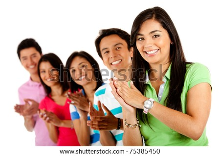 Group of happy people applauding ? isolated over a white background - stock photo