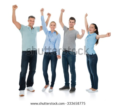 Group Of Happy People Cheering Over White Background