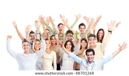 Group of happy people. Christmas party. Isolated on white background. - stock photo
