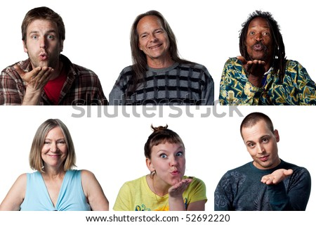 Group of happy people flirting with their eyes and blowing a kiss - stock photo
