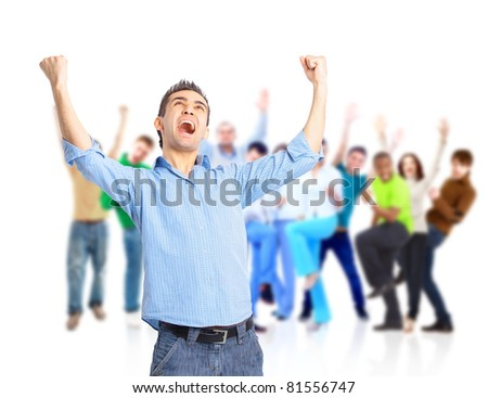 group of happy people hugging and cheering - stock photo