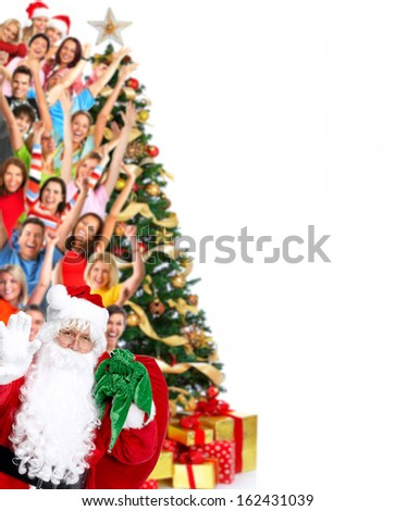 Group of happy people isolated on white background. - stock photo