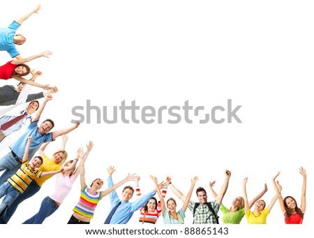 Group of happy people.  Isolated on white background. - stock photo