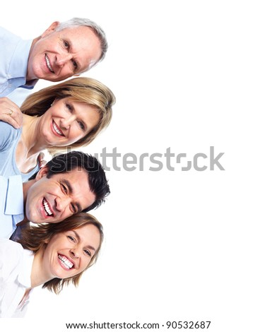 Group of happy people. Isolated over white background. - stock photo