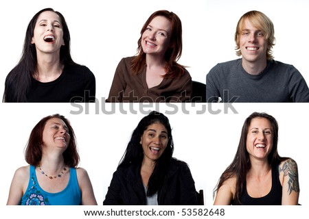 Group of happy people laughing out loud - stock photo