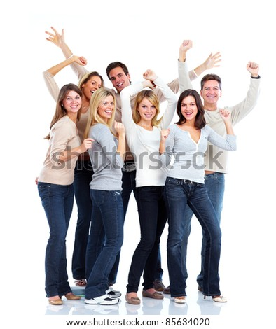 Group of happy people . Over white background.