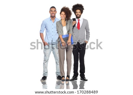 Group of happy people standing together - stock photo