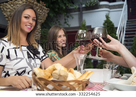 Group of happy people toasting with wine  and celebrating during lunch in the restaurant. - stock photo