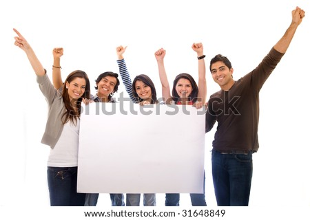group of happy people with a banner add isolated - stock photo