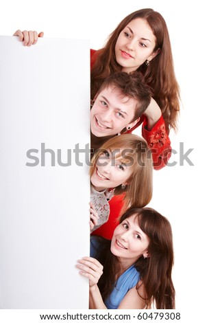 Group of happy people with banner. Isolated. - stock photo
