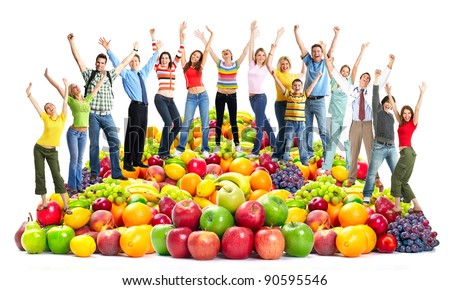 Group of happy people with fruits.  Isolated on white background. - stock photo