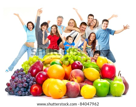 Group of happy people with fruits. Over white background. - stock photo
