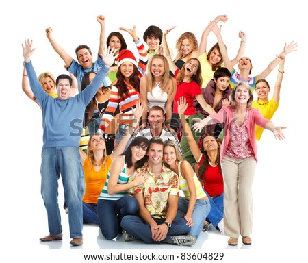 Group of happy people with placard. Over white background. - stock photo