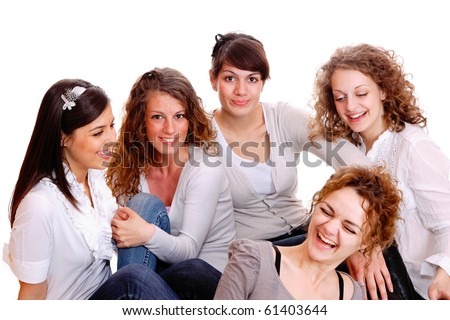 Group of happy pretty laughing girls over white background