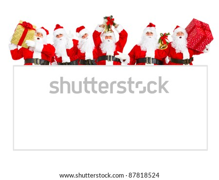 Group of happy Santa Claus with christmas poster banner.  Isolated on white background. - stock photo