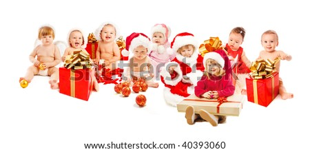 Group of happy Santa kids - stock photo