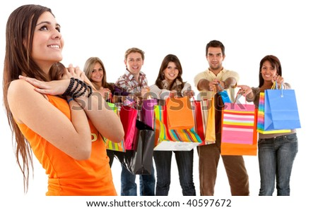 Group of happy shoppers with shopping bags isolated