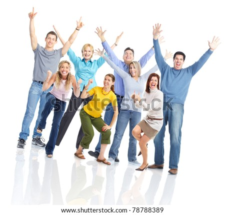 Group of happy smiling people. Over white background