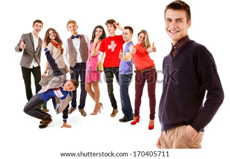 Group of happy smiling young people - stock photo