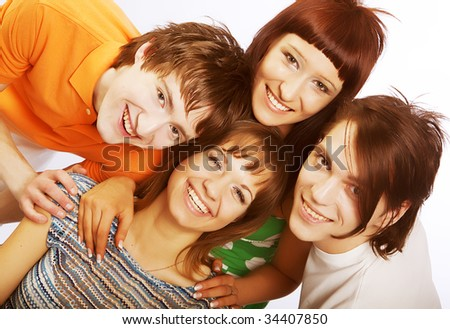 group of happy students full of success isolated over a white background