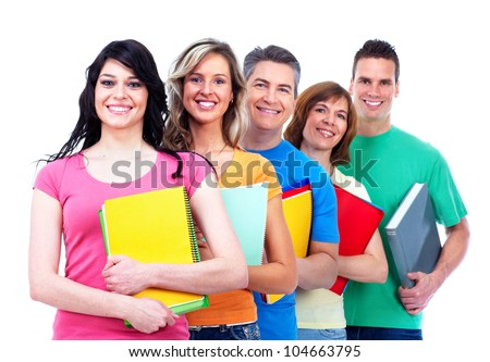 Group of happy students. Isolated on white background.