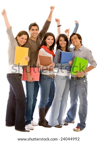 Group of happy students isolated over a white background - stock photo