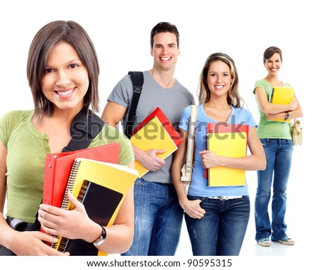 Group of happy students. Isolated over white background. - stock photo