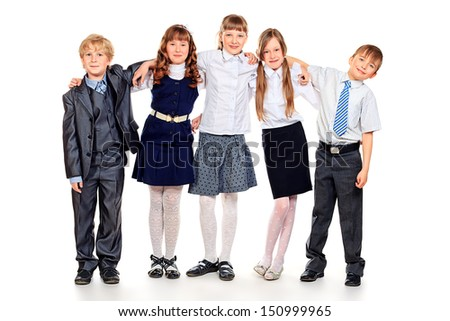 Group of happy students standing together. Education. Isolated over white background.