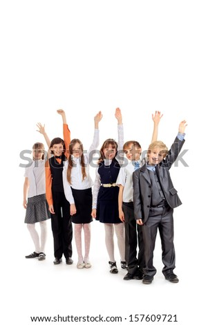 Group of happy students waving their hands for joy. Education. Isolated over white background. - stock photo