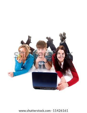 group of happy students with the laptop - stock photo