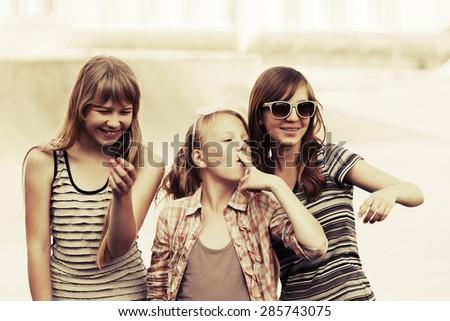 Group of happy teen girls outdoor - stock photo